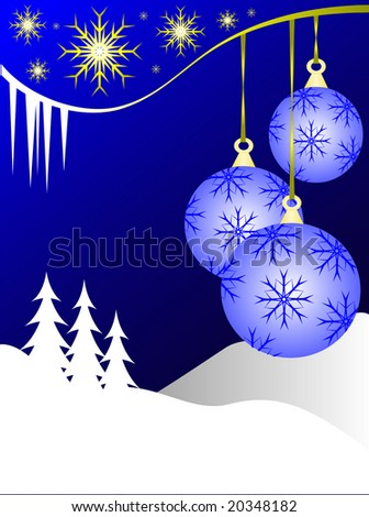 An abstract Christmas illustration with  sky blue baubles on a darker backdrop with a white winter scene and room for text