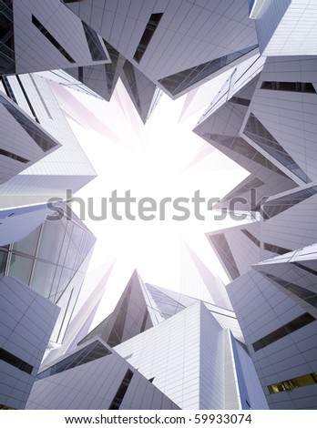 an abstract collage of modern building maze look into the light - stock photo