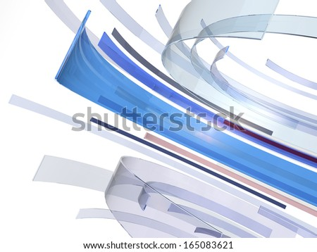 An abstract composition of glass material circling around. - stock photo