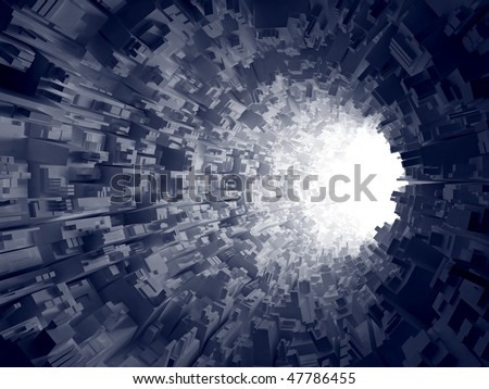 An abstract 3d background.  Light in the end of the geometrical tunnel. - stock photo