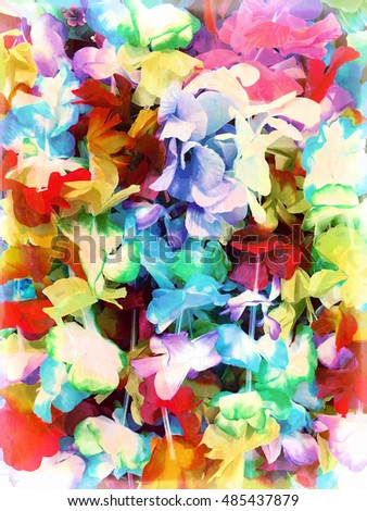 An abstract digital painting of a floral pattern