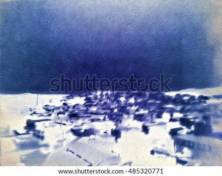 An abstract digital painting of a town, in blue monochrome