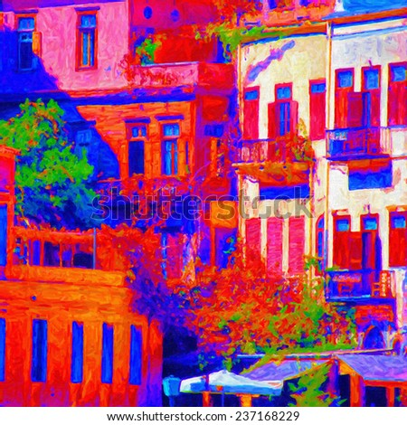 An abstract digital painting of the buildings in the Greek town of Chania. - stock photo