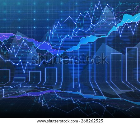 An abstract Forex graph room in blue