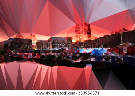 An abstract geometric illustration of the sunrise over Sowerby Bridge Canal Basin, West Yorkshire, England, UK