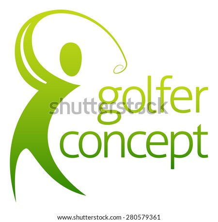 An abstract golfer figure swinging his golf club concept - stock photo
