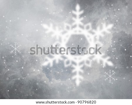 An abstract gray winter background with frost and snow.