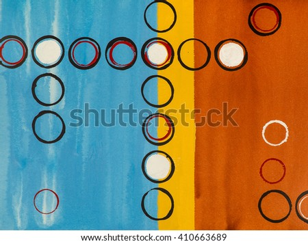 An abstract grid painting; stamped circles. - stock photo