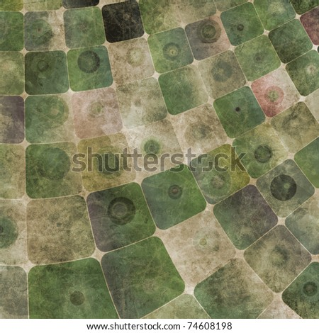 An abstract grungy image of squares curved,  in green tones - stock photo