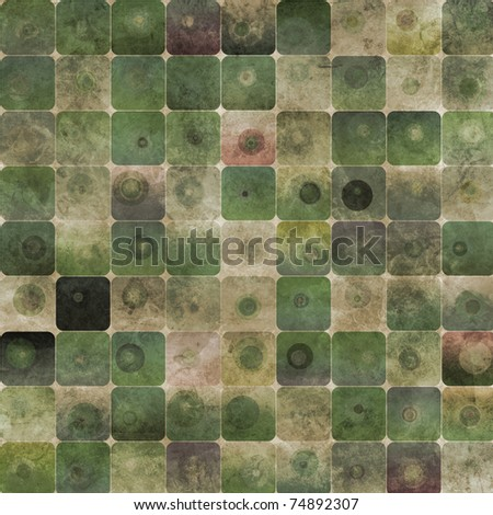 An abstract grungy image of squares with nested circles in green tones - stock photo