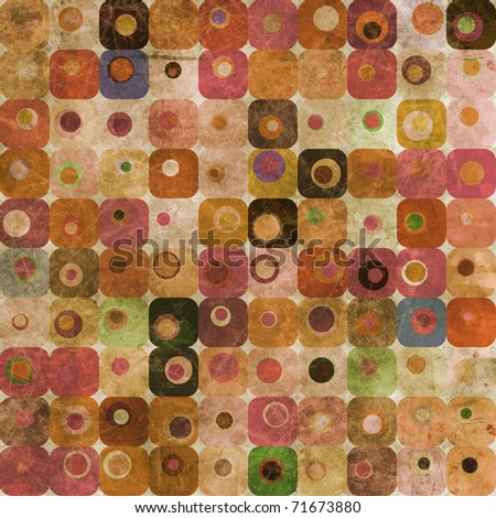 An abstract grungy image of squares with nested circles in warm tones - stock photo