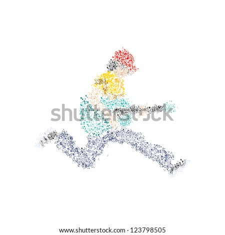 An abstract guitarist from circles in white. - stock photo