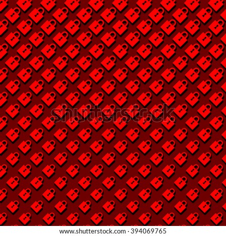 An abstract halftone pattern of closed padlocks in red on a dark red background