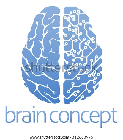 An abstract illustration of a brain circuit board concept design - stock photo