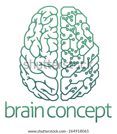 An abstract illustration of a brain half electrical circuit board concept design - stock photo