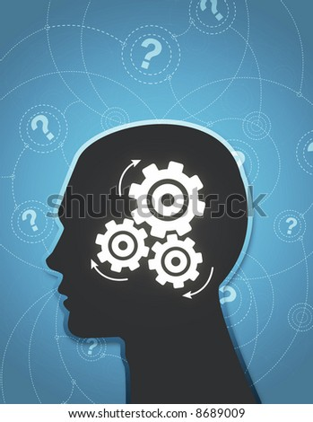 An abstract illustration of a silhouetted head thinking hard trying to answer questions. - stock photo