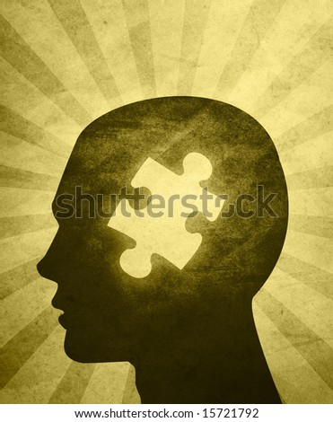 An abstractÃ? illustration of aÃ?silhouettedÃ?head with a puzzle piece missing in the center of the head - stock photo
