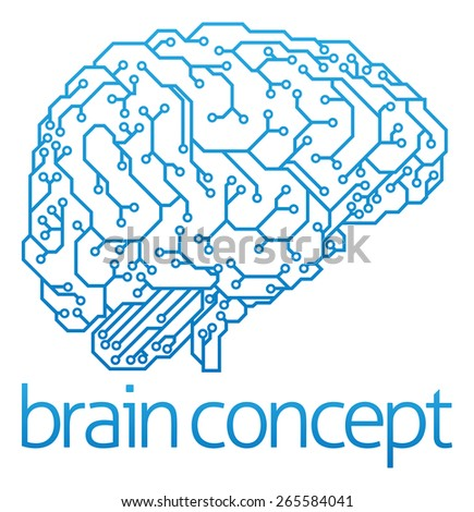 An abstract illustration of an electronic circuit board brain in profile, ai artificial intelligence concept - stock photo