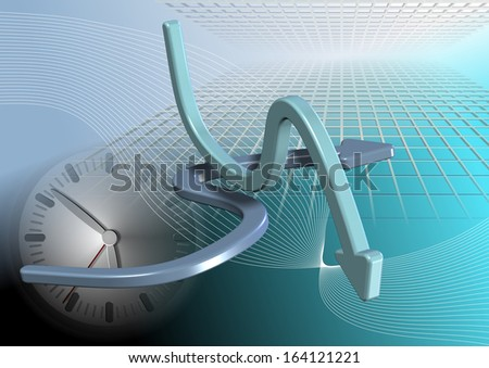 An abstract illustration of arrows and clock with 3d graphs in the background / Abstract business background