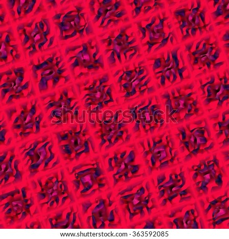 An abstract illustration with relief purple squares on red background