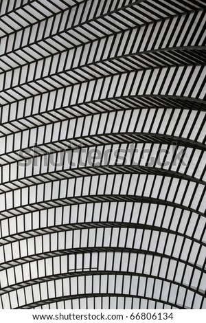 An Abstract Image of the Ceiling of a Modern Building - stock photo
