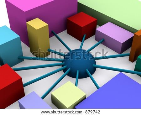 an abstract image showing an organization with diversity - stock photo
