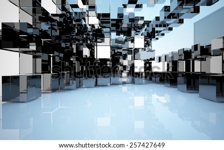 An abstract interior (box of different materials) - stock photo