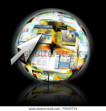 An abstract internet ball with websites spinning for speed. There is an arrow pointing for a search concept. - stock photo