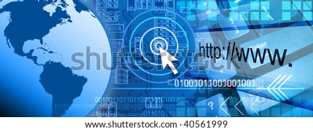 An abstract internet computer background with a globe of the Earth on one side and a keyboard on the other side. There is a circuit board in the background with binary numbers faded. - stock photo