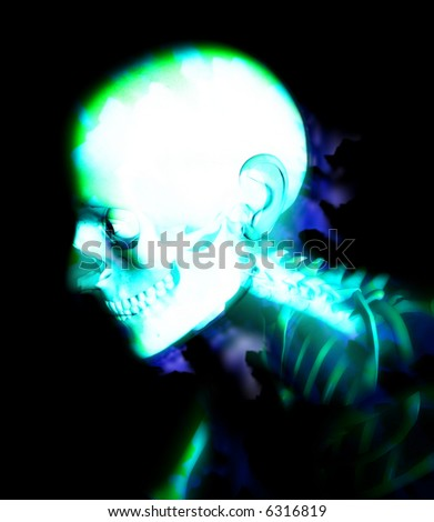 An abstract medical x-ray of a skeleton. A suitable medical or Halloween based image. - stock photo