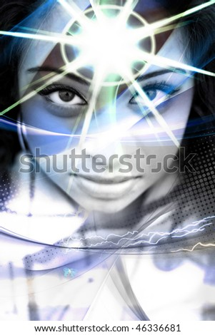 An abstract montage of a beautiful  woman with a star burst coming from her forehead. - stock photo