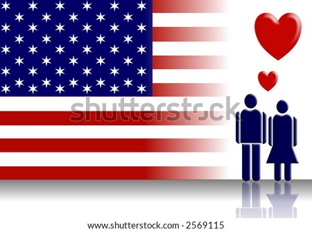 An abstract of American flag and Valentine couple