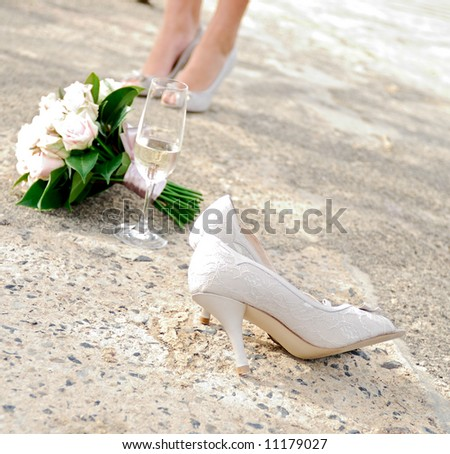 An abstract of wedding accessories - stock photo