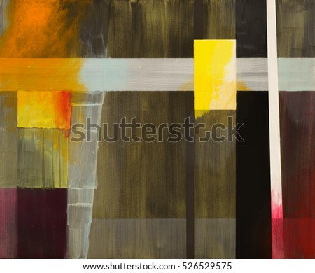 An abstract painting; geometric abstraction with with overpainting.