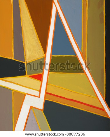 an abstract painting; linear and geometric - stock photo