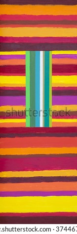 An abstract painting; Vertical Cool on Horizontal Warm - stock photo