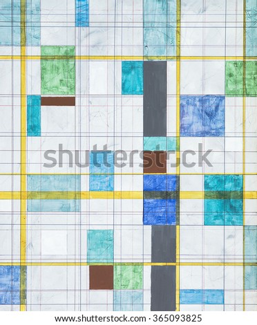 an abstract painting with a grungy mesh background and small floating blocks of colour - stock photo