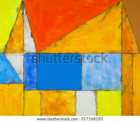 an abstract painting with rectangles and triangles - stock photo
