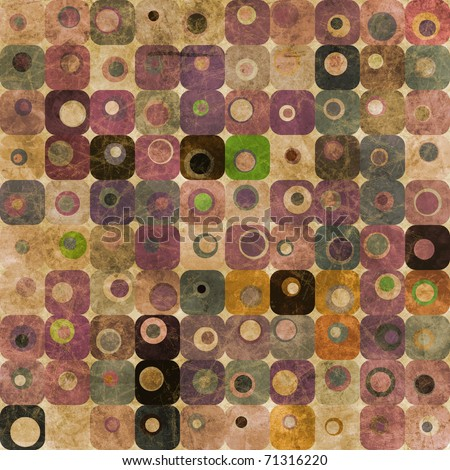 An abstract pattern with grungy squares and circles in purple and green tones - stock photo