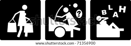 An abstract raster comic strip, depicting some activities of a woman. - stock photo