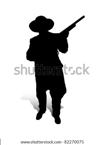 An abstract raster illustration of a man, who is posing with a gun. - stock photo