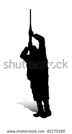 An abstract raster illustration of a man, who is targeting something with his gun. - stock photo