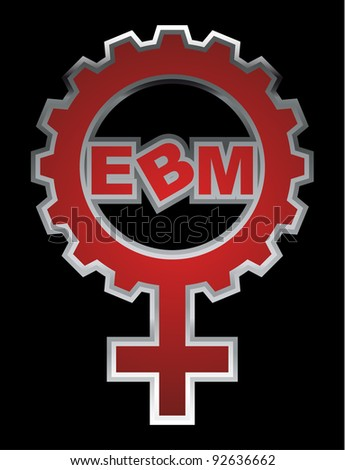 "An abstract raster illustration of a venus symbol gear with the text ""EBM"" inside. - stock photo"