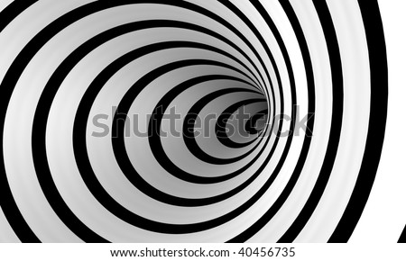An abstract spiral of black and white that spirals off into the distance - stock photo