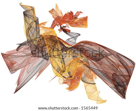 An abstract turning colors of Fall leaves design rendered on a white background. - stock photo