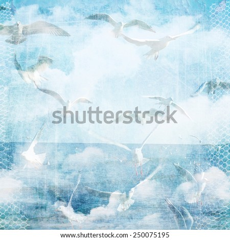 An abstract vintage texture background with clouds and seagull. Page to design photo books, album. Soft focus, blur specifically for the background image