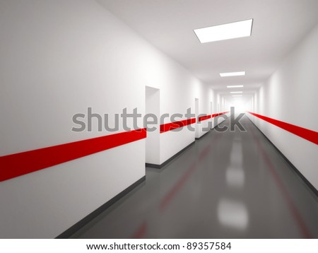 An abstract white corridor with doors and red lines - stock photo
