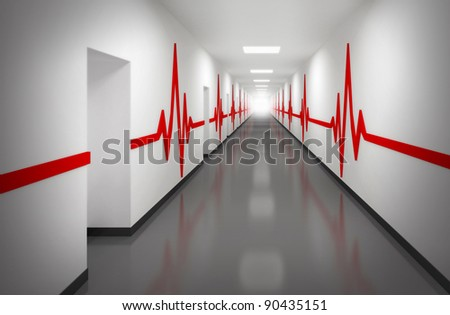 An abstract white hospital corridor with doors and red pulse lines on walls - stock photo