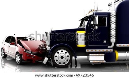 An accident between a red car and a truck - stock photo
