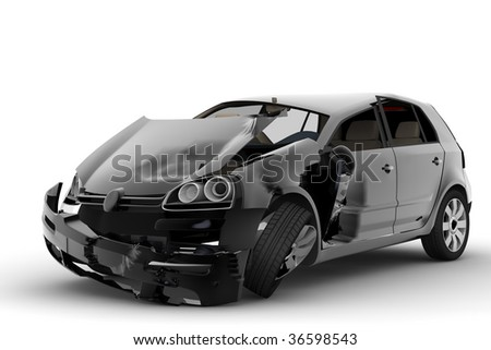 An accident with a black car isolated on white - stock photo